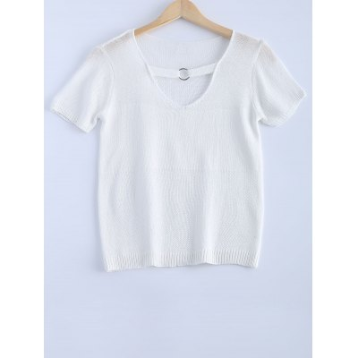 Solid Color V-Neck Metallic Short Sleeves Knitwear For Women