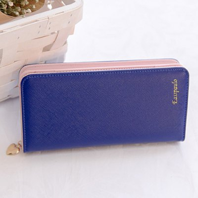 Sweet Zip and Candy Color Design Clutch Wallet For Women