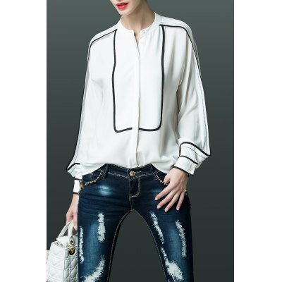 Hit Color Long Sleeve Blouse