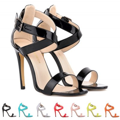 Fashion Patent Leather and Cross Straps Design Sandals For Women