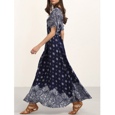 Bohemian Belted Print Maxi Dress