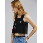Chic Sleeveless Pocket Front Floral Embroidered Women's Crop Top deal
