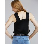 Chic Sleeveless Pocket Front Floral Embroidered Women's Crop Top for sale