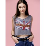 cheap Casual Scoop Neck Flag Print Crop Top For Women