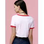 Fashionable Scoop Neck Print Crop Top For Women for sale