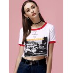 cheap Fashionable Scoop Neck Print Crop Top For Women