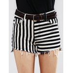 Stylish Striped Denim Shorts For Women