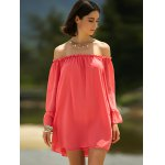 Sweet Cold Shoulder Ruffle Sleeve Dress For Women deal