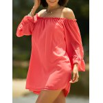 Sweet Cold Shoulder Ruffle Sleeve Dress For Women