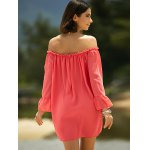 Sweet Cold Shoulder Ruffle Sleeve Dress For Women photo