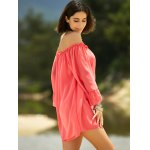 Sweet Cold Shoulder Ruffle Sleeve Dress For Women for sale