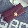 cheap Retro Push Lock and PU Leather Design Wallet For Women