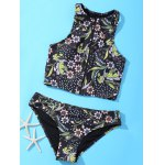 Stylish Zipper Fly Design Floral Print Women's Swimsuit