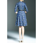 cheap Belted Floral Print Dress