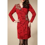 Buy 3D Flower Beaded Party Dress M RED