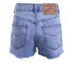 best Vintage Style High Waist Raw Edged Floral Embellished Denim Shorts For Women
