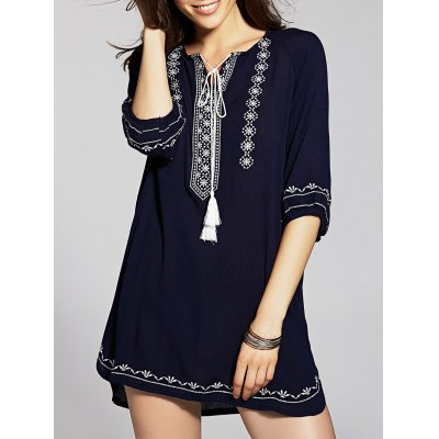 Ethnic Embroidered Women's Tunic Dress