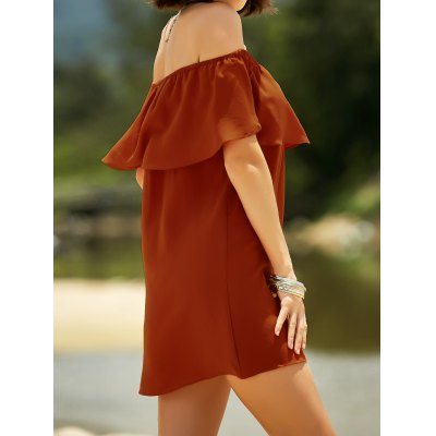 Stylish Off The Shoulder Short Sleeve Fitting Flounce Ruffles Women's Dress