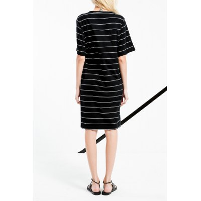 High Low Stripe Shift DressMidi-Dress<br>High Low Stripe Shift Dress<br><br>Style: Brief<br>Occasion: Causal,Day<br>Material: Cotton,Spandex<br>Composition: 94.4% Cotton,5.6% Spandex<br>Neckline: Round Collar<br>Silhouette: Straight<br>Dresses Length: Mini<br>Sleeve Length: Half Sleeves<br>Pattern Type: Striped<br>With Belt: No<br>Season: Summer<br>Weight: 0.500kg<br>Package Contents: 1 x Dress