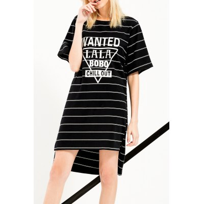 High Low Stripe Letter Graphic Dress