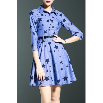Star Print Denim Shirt Dress