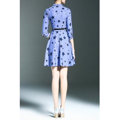 Star Print Denim Shirt DressDesigner Dresses<br>Star Print Denim Shirt Dress<br><br>Style: Cute<br>Occasion: Causal,Day,Work<br>Material: Polyester,Rayon,Spandex<br>Composition: 63% Polyester,34% Rayon,3% Spandex<br>Silhouette: A-Line<br>Dresses Length: Mini<br>Neckline: Shirt Collar<br>Sleeve Length: 3/4 Length Sleeves<br>Waist: Empire<br>Pattern Type: Star<br>With Belt: Yes<br>Season: Summer<br>Weight: 0.390kg<br>Package Contents: 1 x Dress  1 x Belt