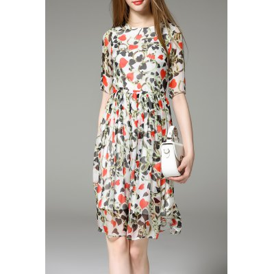 Heart Print Side Zippered Dress