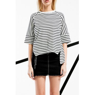 High Low Stripe Cotton Tee