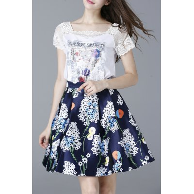 Lace Spliced T-Shirt and High Waist Printed Skirt Twinset