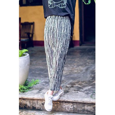 Striped Elastic Waist Ankle Pants