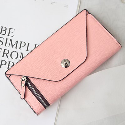 Concise Candy Color and Zip Design Wallet For Women