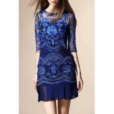 Embroidery Zippered Pleated Dress
