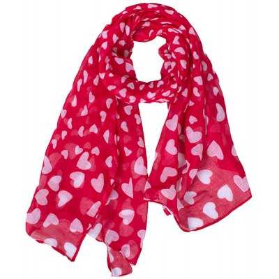 Stylish White Sweet Heart Pattern Red Scarf For Kids