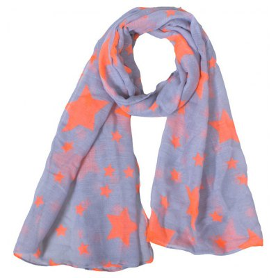 Various Orange Five-Pointed Stars Pattern Gray Voile Scarf For Kids