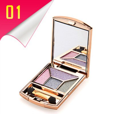 4 Colours Rhinestone Earth Colors Diamond Eyeshadow Palette with Mirror and Brush