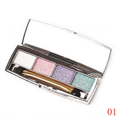 Stylish 4 Colours Earth Colors Brightening Shimmery Diamond Eyeshadow Palette with Mirror and Brush