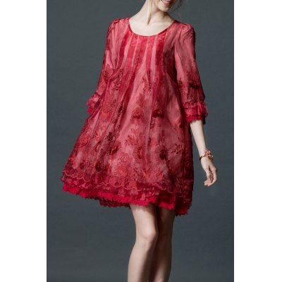 Embroidered Layered Organza Dress