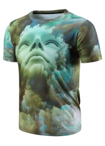 Round Neck 3D Abstract Face Pattern Short Sleeve Men's T-Shirt