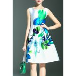 Floral Print A Line Sleeveless Dress