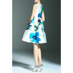 best Floral Print A Line Sleeveless Dress