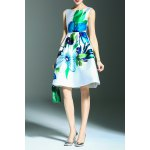 Floral Print A Line Sleeveless Dress for sale