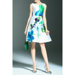 Floral Print A Line Sleeveless Dress deal