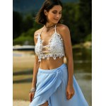 cheap Stylish Sequined Crochet Crop Top For Women