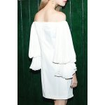 cheap Pleated Off The Shoulder Mini Dress