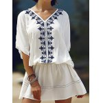 Casual Batwing Sleeve Embroidered Women's Dress