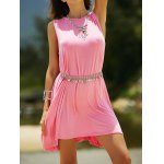 Casual Round Neck Sleeveless Solid Color Dress For Women deal