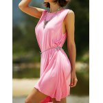 Casual Round Neck Sleeveless Solid Color Dress For Women for sale