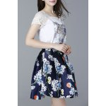 Lace Spliced T-Shirt and High Waist Printed Skirt Twinset deal