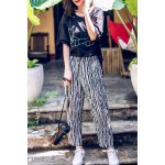 Elastic Waist Striped Ankle Pants deal