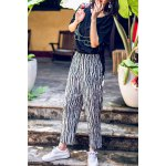 Elastic Waist Striped Ankle Pants for sale